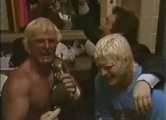 Austin Idol, Tommy Rich and Paul Dangerly Celebrate Shaving Lawler's Head (4-27-87)