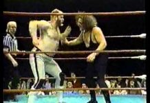 GCW - The Road Warriors attack Bugsy McGraw - Stan Hansen makes the save...